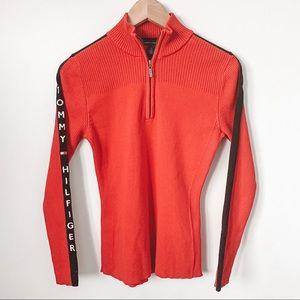 Tommy Hilfiger Red Knit Sweater w/ Logo on Sleeve